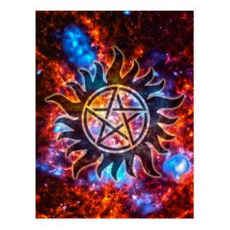 Kosmischer Pentagram Postkarte