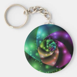 Kosmisches Rosen-Fraktal Keychain Schlüsselanhänger