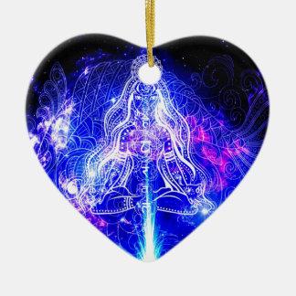 Kosmisches schillerndes Koi Keramik Herz-Ornament