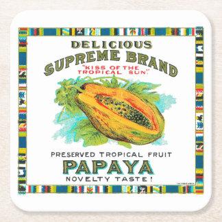 Köstliche Oberste Papaya-Konserven Rechteckiger Pappuntersetzer