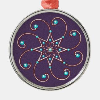 Köstliche Octo-Fleur Zinn-Verzierung Rundes Silberfarbenes Ornament
