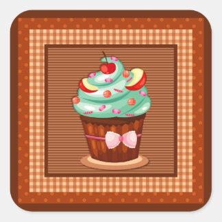 Köstlicher Kuchen-Aufkleber Quadratischer Aufkleber