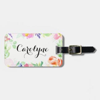 Köstlicher Watercolor-Blumenrahmen personalisiert Gepäckanhänger