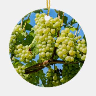Köstliches wachsendes grünes Traubenbündel u. Keramik Ornament