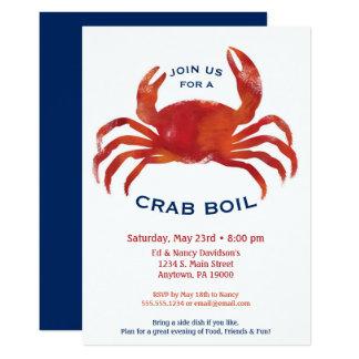 Krabben-Blutgeschwür-Einladungs-niedriges 12,7 X 17,8 Cm Einladungskarte