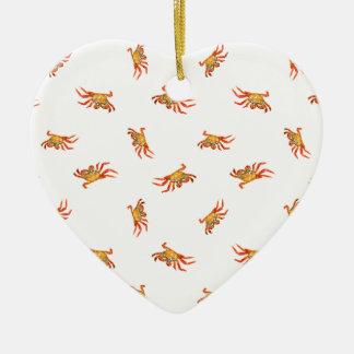Krabben-Foto-Collagen-Muster-Entwurf Keramik Herz-Ornament