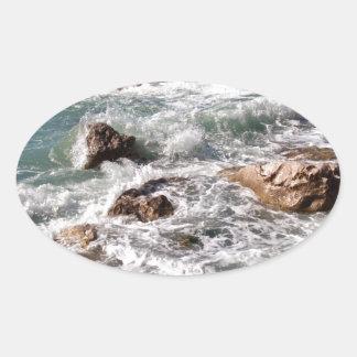 Kraft des Meeres - Insel Sizilien Ovaler Aufkleber