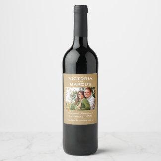 Kraft Wedding Photo Wine Bottle Favor Weinetikett