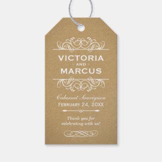 Kraft Wedding Wine Bottle Monogram Favor Tags Geschenkanhänger