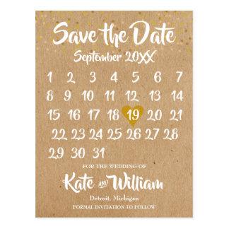 Kraftpapier-Art Kalender Save the Date Postkarte