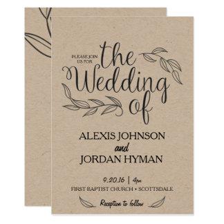 Kraftpapier-Hochzeits-Einladung Karte