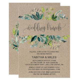 Kraftpapier-Laub-Hochzeits-Brunch Karte