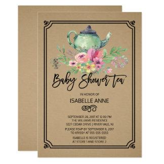 Kraftpapierwatercolor-Blumentee-Party-Baby-Dusche 12,7 X 17,8 Cm Einladungskarte