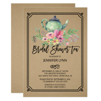 Kraftpapierwatercolor-Brautparty-Tee-Einladung 12,7 X 17,8 Cm Einladungskarte