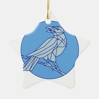 Krähe, die Seitenkreis-Monolinie schauend hockt Keramik Ornament