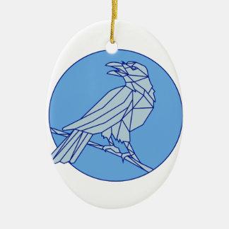 Krähe, die Seitenkreis-Monolinie schauend hockt Ovales Keramik Ornament