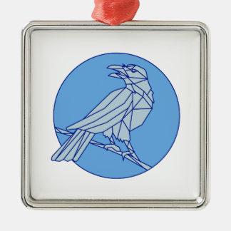 Krähe, die Seitenkreis-Monolinie schauend hockt Quadratisches Silberfarbenes Ornament