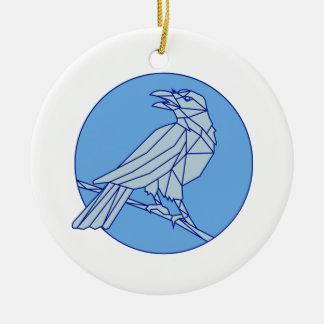 Krähe, die Seitenkreis-Monolinie schauend hockt Rundes Keramik Ornament