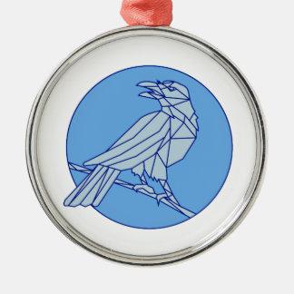 Krähe, die Seitenkreis-Monolinie schauend hockt Rundes Silberfarbenes Ornament