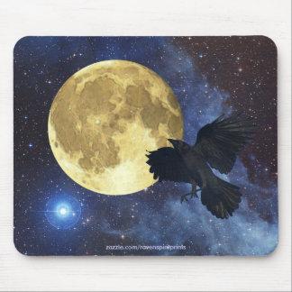Krähe, Mond u. Weltraum Mousepad