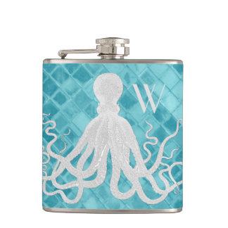 Krake auf Aqua-Seeglas-Monogramm Flachmann