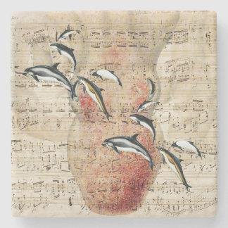Krake und Delphin-Collage Steinuntersetzer