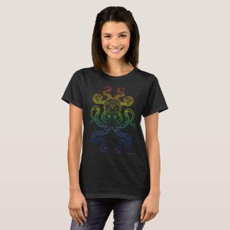 Kraken-Seeozean-Kunst-Regenbogen-Stolz-Schwarzes T-Shirt