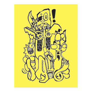 Kram-/Ersatzteil-plumper Roboter-Charakter Postkarte