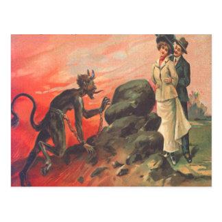 Krampus, das romantische Paare anpirscht Postkarte