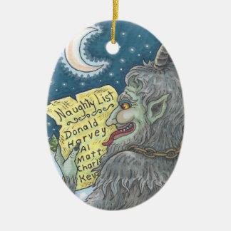 KRAMPUS FRECHES LISTE Weihnachtsverzierungs-Oval Keramik Ornament