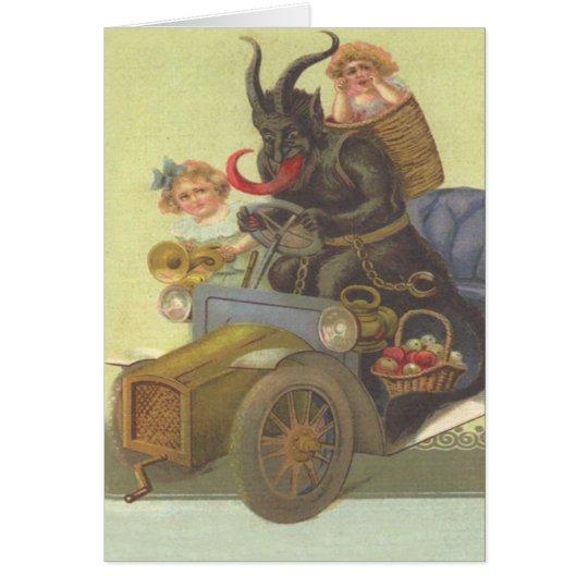 Krampus Obducting kleine Mädchen im Auto Grußkarte
