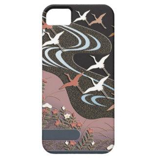 Kräne, Fluss, Herbst-Blumen und Nebel Etui Fürs iPhone 5