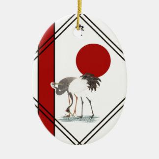 Kräne und Ruhe Keramik Ornament
