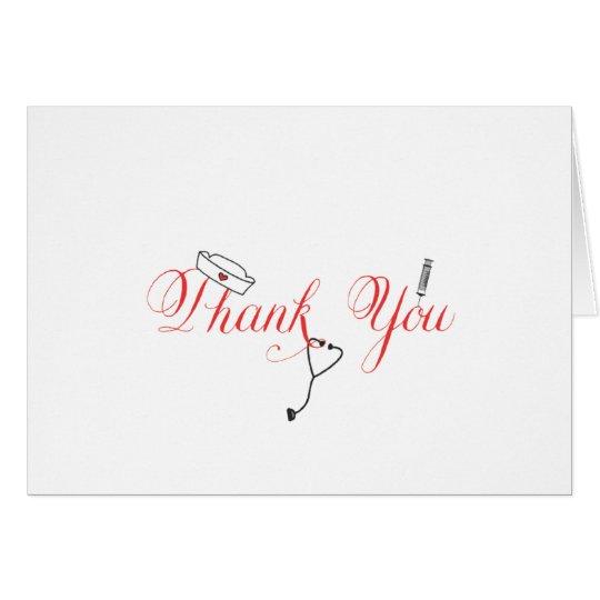 Krankenschwester danken Ihnen, rote Mitteilungskarte