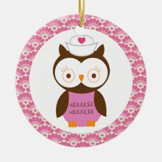 Krankenschwester-Eulen-Geschenk-Verzierung Keramik Ornament