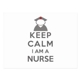 Krankenschwester-Symbol behalten Ruhe, die ich Postkarte