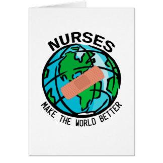 Krankenschwester-Welt Notecard Mitteilungskarte