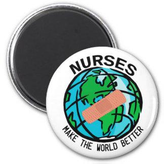 Krankenschwestern stellen die Welt besseren Runder Magnet 5,7 Cm