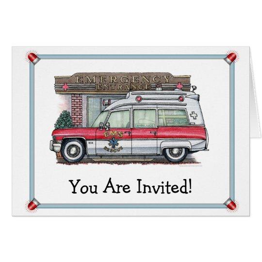 Krankenwagen-Geburtstags-Party Einladung