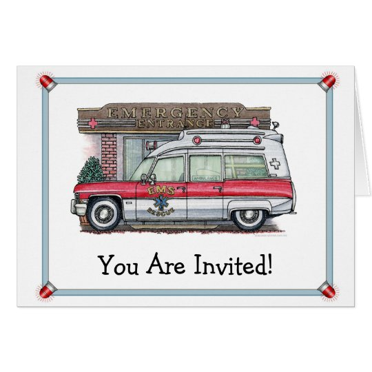 Krankenwagen-Geburtstags-Party Einladung Grußkarte