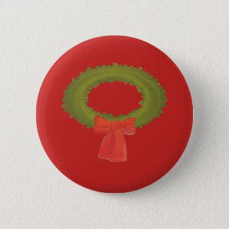 Kranz auf einem roten Knopf Runder Button 5,7 Cm