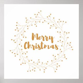 Kranz der frohen Weihnachten - golden Poster