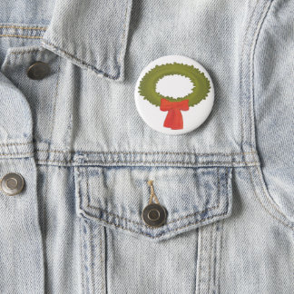 Kranz mit rotem Bogen-Knopf Runder Button 5,7 Cm