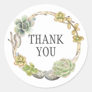 Kranz von Succulents, Zweige und Steine | danken Runder Aufkleber