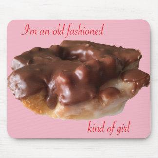 Krapfen-Schokoladen-altes Mode-Mädchen Mauspad