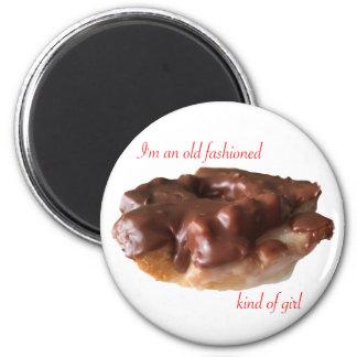 Krapfen-Schokoladen-altes Mode-Mädchen Runder Magnet 5,7 Cm