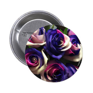 Krawatten-Rosen: Weiß, rosa und lila Runder Button 5,1 Cm