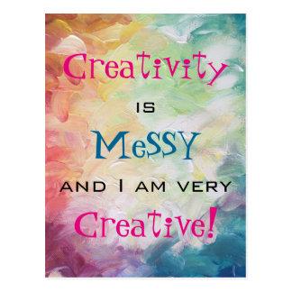 Kreativität ist unordentlich und ich bin sehr postkarte