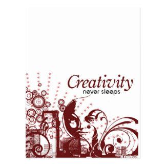 Kreativität schläft nie postkarte