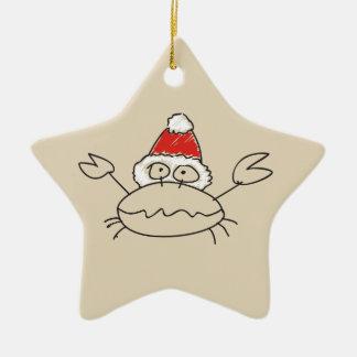 Krebs-Weihnachtslustiger Astrologie-Stern-rotes Keramik Ornament